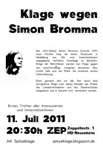 PLAKAT SIMON BRENNER BROMMA TREFFEN 11. JULI ZEP AK SPITZELKLAGE