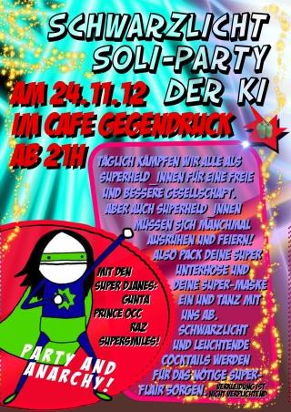 Flyer zur Party  Kritischen Initiative Heidelberg im Café Gegendruck am 24.11.2012